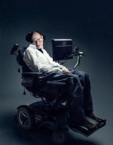 Wired January 2015, Relates to special feature on Stephen Hawking, Hawking sits in his personalised special electric wheelchair, text in foreground from him screen
